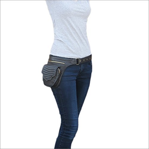 7922e5e6aed8 Galleon - Eyes Of India - Black Leather Belt Waist Bum Hip Pouch Bag ...