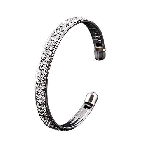 NIHAI Open Bangle Cuff Bracelet for Women, Gold Silver Color Crystal Rhinestone Bracelet Wedding Bangle for Ladies (Silver)