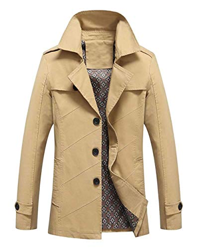 Slim Jacket Long Jacket Long British Men's Style Casual Outerwear Sleeve Kaki Spring Autumn Huixin Coat Apparel Lapel Hipster UwqF5ax