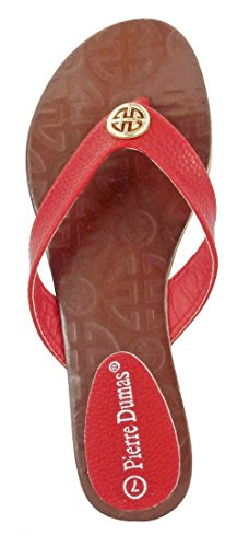 Pierre Flora Red Synthetic Sandals Ornament Dumas Women's xPqxB6