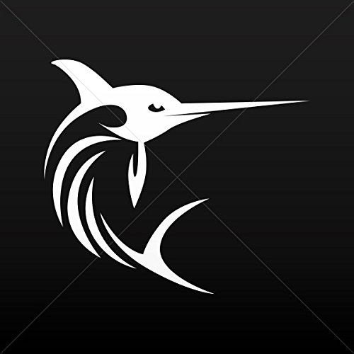 Fishes Various sizes Decals Stickers Swordfish Marlin Sailfish Tablet Laptop Weat White (14 X 12.3 Inches) ()