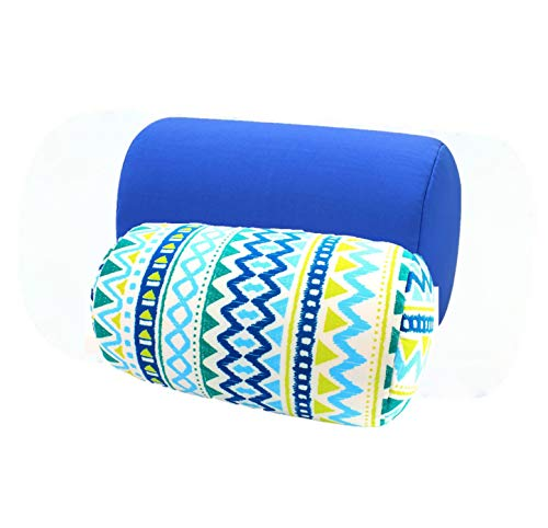 Bookishbunny 2pk Micro Bead Bolster Tube Pillow Cushion for Car Sofa Bed Room Decoration, Back Neck Head Body Support - Squishy and Cool Fabric, Odorless, Hypoallergenic (Blue/BlueWave) ()