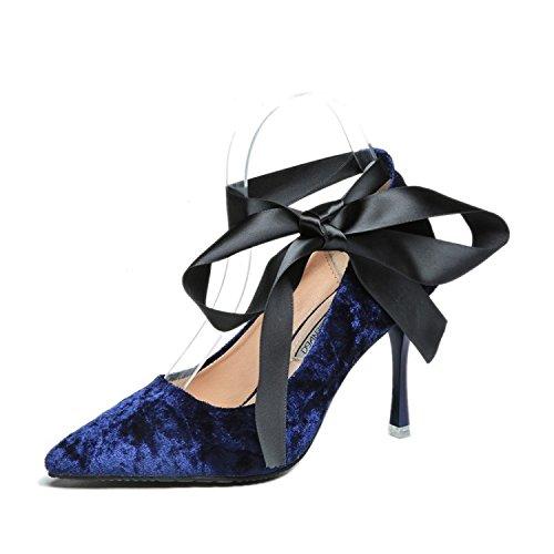 Bande Nud En 38 Tide Avec Velours Chaussures Pour Transversale Papillon Pointe Bleu Fine Femmes EwpxzqpZ