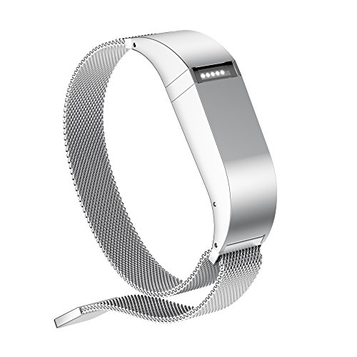 GELISHI Flex Band Replacement with Stainless Steel Wireless Activity Bracelet Sport Wristband No Tracker - Silver Large ()