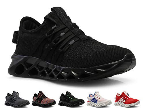 CROSSMONT Mens Blade Wave Walking Shoes Breathable Knit Athletic Running Gym Sneakers Black 10.5 - Mens Slip Athletic