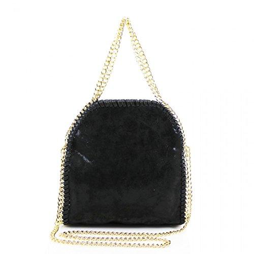 YDezire® - Bolso para mujer, diseño con cadena negro y dorado