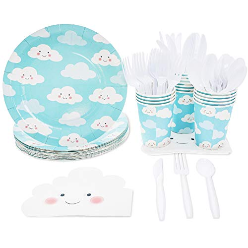 - Disposable Dinnerware Set - Serves 24 - Cute Clouds Design, Kids Birthday, Gender Reveal Party Supplies, Includes Plastic Knives, Spoons, Forks, Paper Plates, Die-Cut Cloud Napkins, Cups, Sky Blue