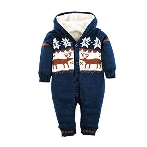 Milkiwai Toddler Baby Boy Girl Christmas Outift Winter Warm Thick Fleece Romper Outwear Size 6-9M (Navy Blue) -