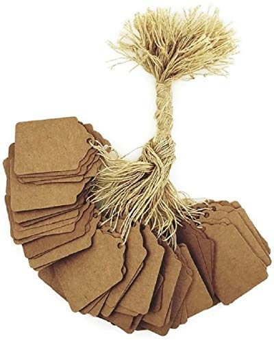 100 pcs Kraft Gift Marking Tags Price Labels Display Tags Strung for Crafts & Gifts. Personalize & Price your merchandise (1 1/4 x 1 7/8)