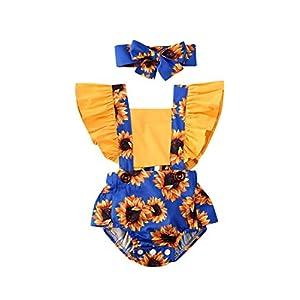 2Pcs Newborn Baby Girl Leopard Ruffles Sleeve Bodysuits Jumpsuit Headband Clothes Romper Set