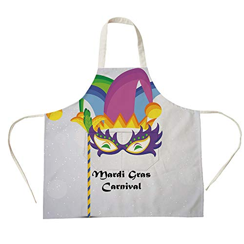 3D Printed Cotton Linen Big Pocket Apron,Mardi Gras,Mardi Gras Carnival Inscription with Traditional Party Icons Clown Costume Hat Decorative,Multicolor,for Cooking Baking Gardening