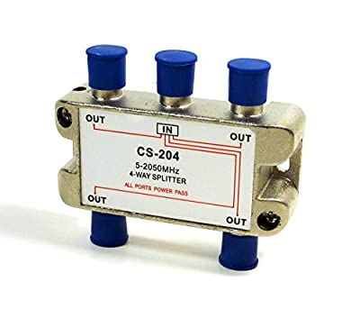 """Philmore 2GHZ High """"Q"""" 4-Way Low Loss Coaxial Satellite TV Signal Splitter With Weather Caps, Commercial Grade"""