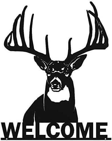 Welcome Whitetail Deer Buck Metal Wall Art Sign