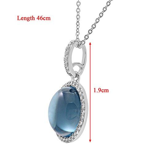 Revoni Bague en or blanc 9carats-Diamant et 3,75carats Topaze bleue Pendentif en Pierre ronde avec chaîne de 46cm