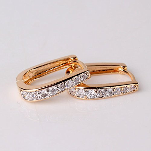 GULICX Fashion Jewelry White Topaz Color White Gold Two Tone Party Hoop Earrings