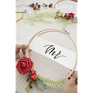 Ling's moment 2-Set Wedding Backdrop Handcrafted Flower Wreaths, Rustic Wedding Decor Artificial Roses Plant Flower Garland Woodland Christmas Decoration Floral Hoop 2