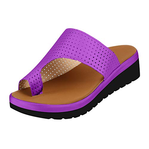 FAPIZI Womens Vintage Slippers Thick Bottomed Sandal Shoes Breathable Sandals Clip Toe Summer Indoor Outdoor Shoes Purple
