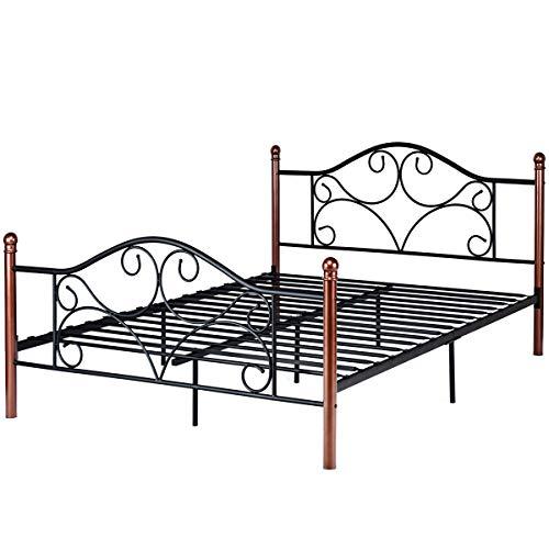 Black Steel Queen Size Platform Metal Slats Classic Wrought Curved Iron Design Headboard Footboard 12