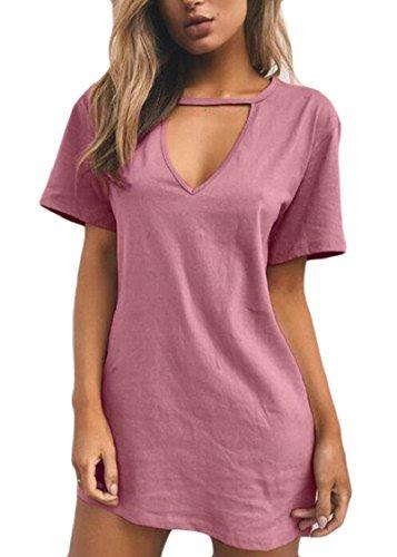 T Scollo Sexy Top Vestito Solido A Manica shirt Sottile Con Girocollo Rosa Corta V Jaycargogo Donne YaUwxqSng