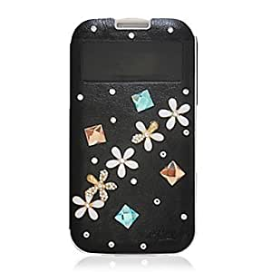 GJY Five Daisy Spot Zircon Leather Case for Samsung Galaxy S4 I9500