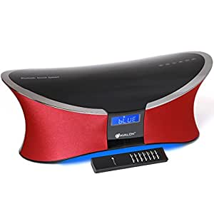 Avalon 2.1CH Bluetooth Sound System with AUX and FM Radio, Red