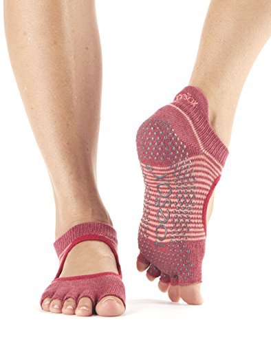 Donna Calze Toe Grip For slip Socks Pilates Yoga Ballet Pomegranate non Barre amp; Stripe Bellarina Half Toesox gnU6OU