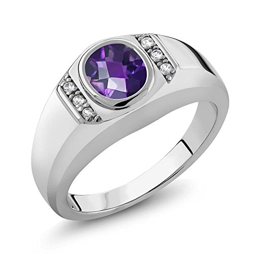 1.06 Ct Oval Checkerboard Purple Amethyst White Created Sapphire 925 Sterling Silver Men's Ring (Size ()