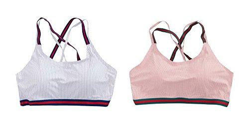 韻駐地またね女性のストライプスタイルのキャミソール下着ラップ胸タンクの作物のトップ、ホワイト+ピンク