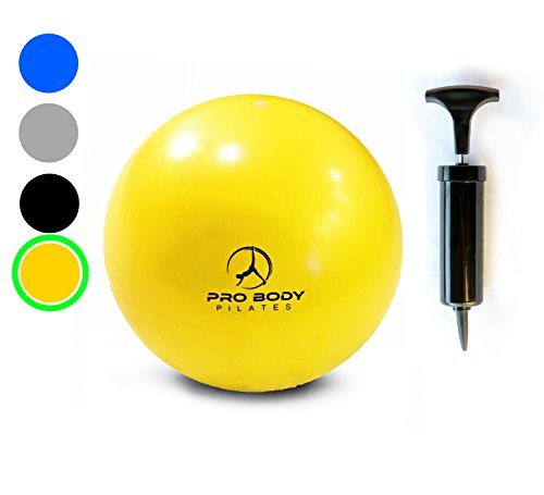 Mini Exercise Ball with Pump - 9 Inch Small Bender Ball for Stability, Barre, Pilates, Yoga, Core Training and Physical Therapy (Yellow)