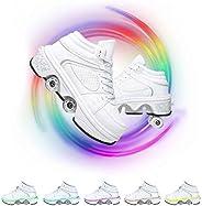 Multifunctional Deformation Roller Skates for Kids LED Luminous Skate Shoes 7 Color Conversion Light Up Roller