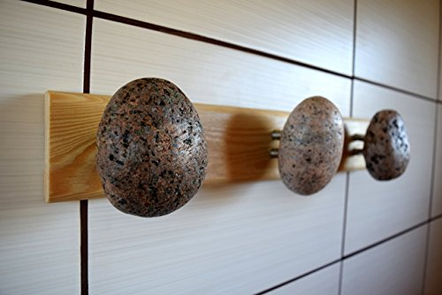 Hook - Hanger - Coat Rack with natural Ocean STONES Hardwood Handcrafted Unique gift. Wall mounted solid wood coat rack with natural Beach Stones - Coast hooks - Rock hanger Distressed Bronzed Metal