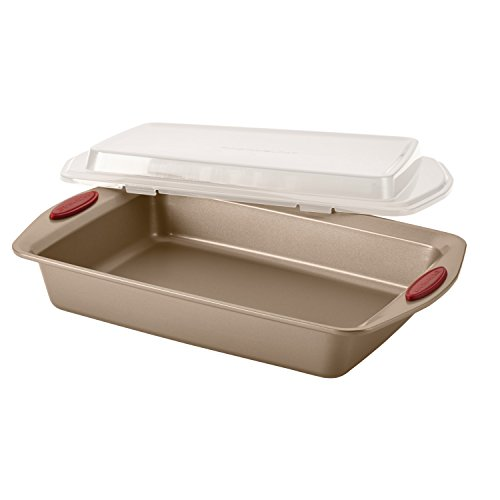 Rachael Ray Cucina Nonstick Bakeware 10-Piece Set, Latte Brown with Cranberry Red Handle Grips by Rachael Ray (Image #10)