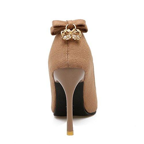 TAOFFEN Women Basic High Heel Slip On Stiletto Court Shoes with Bow Beige CrKca83