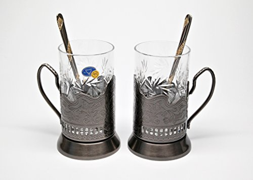 BRONZE Combination of 2 Russian Old-Fashioned CUT Crystal Hot Tea Glass 8.5 Oz  Handmade Metal Glass Holder Podstakannik w/ Gold-plated Teaspoon, Vin…
