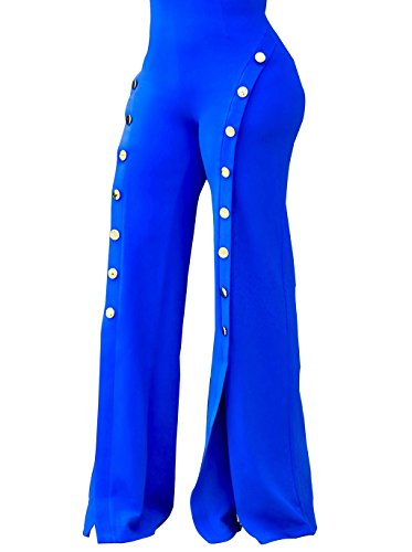 GUOLEZEEV Women High Rise Stretch Skinny Flared Bottoms Wideleg Pants Leggings Blue L -