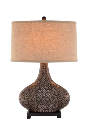 Catalina 19089-001 3-Way 28-Inch Embossed Ceramic Table Lamp with Bronze and Gold Finish and Textured Linen Modified Drum Hardback Shade, Bulb Included ()