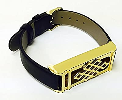 BSI Black Leather Replacement Bracelet With New Unique Design Gold Metal Housing For Fitbit Flex Smart Band