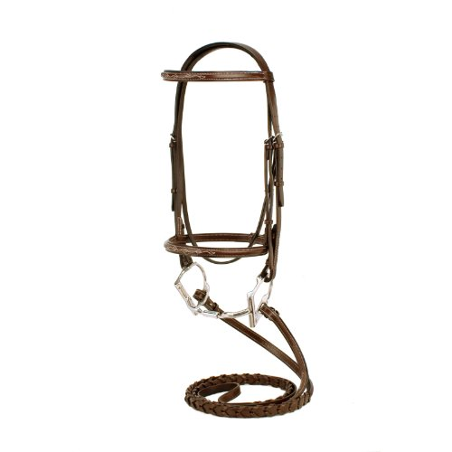 Silverleaf Fancy Square Raised Bridle with Reins - Size:Cob Color:Golden Oak