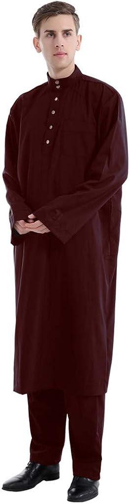 iHAZA Hommes Arabe Musulman Thobe avec Manches Longues Mandarin Col