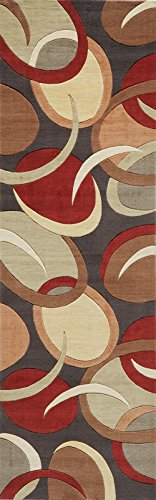 Momeni Rugs ELEMTEL-13BLK2680 Elements Collection, 100% New Zealand Wool Hand Carved Contemporary Area Rug, 2'6