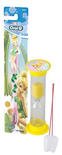 "Disney ""Tinkerbell"" Inspired 2pc Bright Smile Oral Hygiene Set! Soft Manual Toothbrush & Brushing Timer! Plus Bonus ""Remember to Brush"" Visual Aid!"