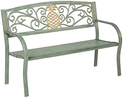 """Plow & Hearth Pineapple Metal Garden Bench, Timeless Verdigris Finish, Tubular Steel Construction, Seats 2, Indoor/Outdoor, Holds Up to 400 Lbs, 50"""" W x 21"""" D x 33½""""H"""