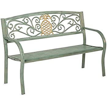 amazon com pineapple metal garden bench 50 l x 21 w x 33 6 h