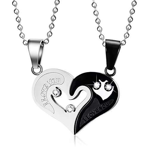 Yeegor Stainless Steel Men Women I Love You Heart-Shape Pendant CZ Puzzle Matching Couple Necklace(Black) (Symbol Love Shape)