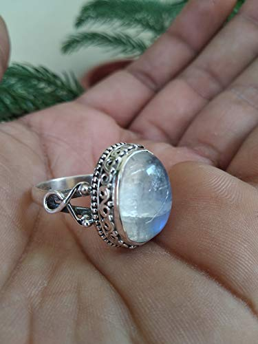 Moonstone Ring, 925 Sterling Silver Ring, June Birthstone, Healing Ring, Mediation Ring, Statement Ring, Engagement Ring, Promise Ring, Mother Day Gift, Classic Ring, Gothic Ring, Jewelry For Women