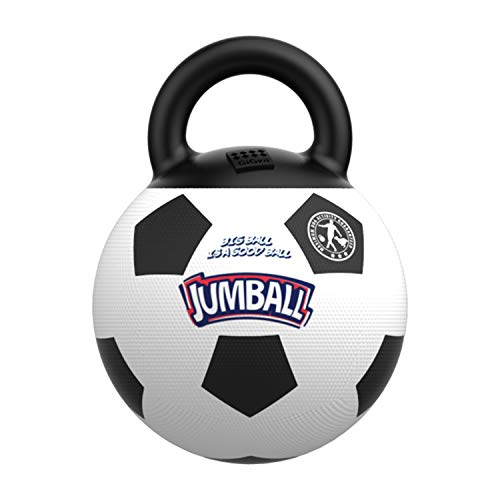 Gigwi JUMBALL Dog Tug and Toss Interactive Toy Soccer Ball for Dogs, Football Dog Ball with Handle Diameter 8 Inches, Excercise Ball for Large Dogs But not Aggressive Chewers ()