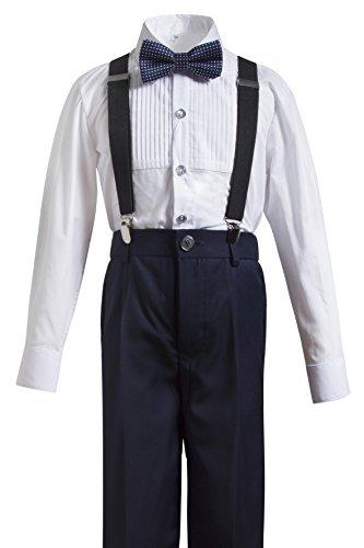 spender Trousers Formal Wear,Shirt+Pants+Straps+Bow Tie (10, Navy 3) (Boys Formal Wear)