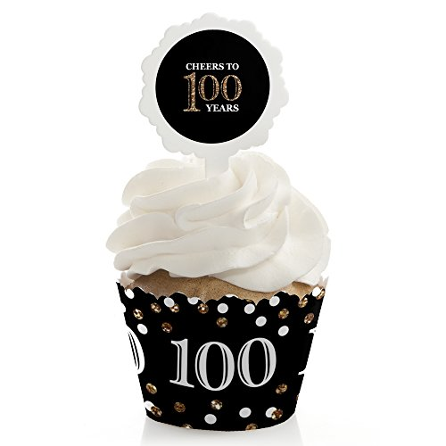 Birthday Party Cupcakes (Adult 100th Birthday - Gold - Cupcake Wrapper & Pick Birthday Party Kit - Set of 24)