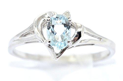 Genuine Aquamarine & Diamond Oval Heart Ring .925 Sterling Silver Rhodium Finish ()
