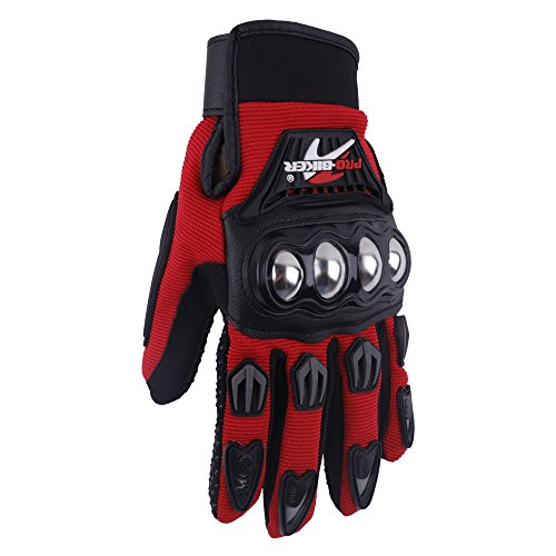 Jackey Awesome Pair of Three Colors Optional Pro-Biker Bicycle Motorcycle Motorbike Powersports Racing Gloves (L, Alloy Steel Knuckle,Red)